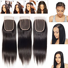 Χαμηλού Κόστους Τούφες Μαλλιών-Guanyuwigs Βραζιλιάνικη 4x4 Κλείσιμο Ίσιο Δωρεάν Μέρος / Μεσαίο τμήμα / 3 Μέρος Ελβετική δαντέλα Φυσικά μαλλιά Γυναικεία Με τα μαλλιά μωρών / Μαλακό / Μεταξένιο Καθημερινή Ένδυση / Καθημερινά