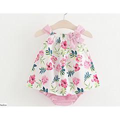 billige Sett med babyklær-Baby Pige Blomstret Uden ærmer Bomuld Tøjsæt / Elegant & Luksuriøs