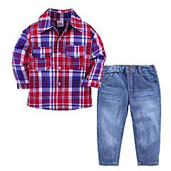 billige Tøjsæt til drenge-Børn Drenge Houndstooth mønster Langærmet Tøjsæt