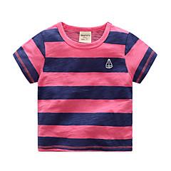 tanie Odzież dla chłopców-Brzdąc Dla chłopców Podstawowy Urlop Jendolity kolor / Prążki Krótki rękaw Bawełna T-shirt