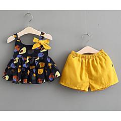 billige Babytøj-Baby Pige Trykt mønster Tunika / Sløjfer Uden ærmer Tøjsæt / Sødt