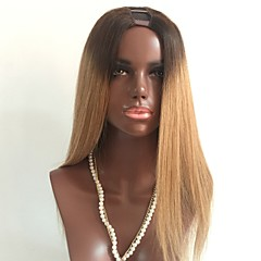 cheap Human Hair Wigs-Virgin Human Hair U Part Wig Layered Haircut style Brazilian Hair Straight Blonde Wig 130% Density with Baby Hair Ombre Hair Dark Roots Blonde Women's Short Medium Length Long Human Hair Lace Wig