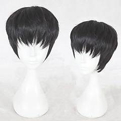 billiga Peruker och hårförlängning-Syntetiska peruker Rak Frisyr i lager Syntetiskt hår Naturlig hårlinje Svart Peruk Herr Korta Utan lock