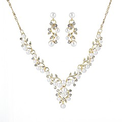 baratos Conjuntos de Bijuteria-Mulheres Conjunto de jóias - Formato de Folha Europeu Incluir Dourado / Prata Para Casamento / Cerimônia / Brincos