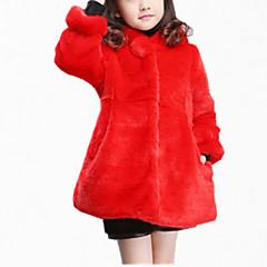 tanie Odzież dla dziewczynek-Dzieci Dla dziewczynek Elegancka odzież Codzienny Solidne kolory Długi rękaw Regularny Regularny Bawełna / Poliester Kurtka / płaszcz Beżowy 140