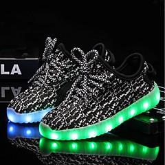 Para Meninos / Para Meninas Sapatos Tricô / Tule Verão / Outono Tênis com LED Tênis LED para Crianças Preto / Cinzento