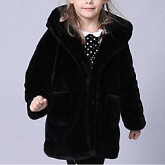 baratos Roupas de Meninas-Para Meninas Jaqueta & Casaco Sólido Inverno Pêlo Sintético Tipo Especial de Pêlo Manga Longa Preto