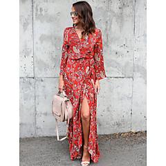 Damen Anspruchsvoll Schlank Skater Kleid Blumen Maxi V-Ausschnitt Rot