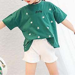 billige Pigetoppe-Pige T-shirt Blomstret, Bomuld Sommer Halvlange ærmer Sødt Grøn Hvid