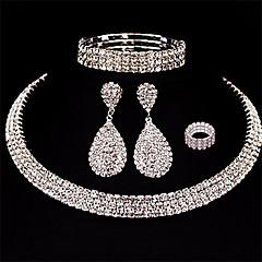 baratos Conjuntos de Bijuteria-Mulheres Camadas Conjunto de jóias - Caído Europeu, Fashion, Multi Camadas Incluir Brincos Compridos Branco Para Casamento