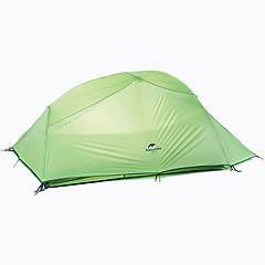 billige Telt og ly-Naturehike 3 person Dobbelt Lagdelt camping Tent Utendørs Turtelt Regn-sikker / Fort Tørring / Vindtett til 2000-3000mm Oxfordstoff /