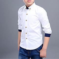 baratos Roupas de Meninos-Para Meninos Camisa Sólido Retalhos Primavera Outono Algodão Manga Comprida Simples Branco