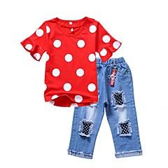 billige Tøjsæt til piger-Børn Pige Aktiv Ferie Ensfarvet / Prikker / Trykt mønster Ribbet Kortærmet Bomuld Tøjsæt / Sødt