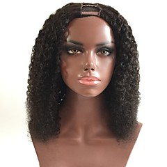 cheap Wigs & Hair Pieces-Remy Human Hair U Part Wig Mongolian Hair Curly Black Wig Layered Haircut 180% Density with Baby Hair For Black Women Black Women's Short Medium Length Long Human Hair Lace Wig Aili Young Hair