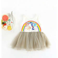 billige Babykjoler-Baby Pige Basale Trykt mønster Uden ærmer Bomuld Kjole