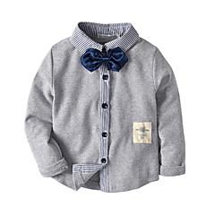 billige Overdele til drenge-Børn / Baby Drenge Ensfarvet / Farveblok / Patchwork Langærmet Skjorte