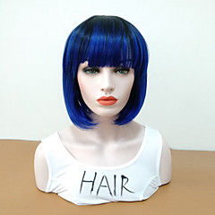 cheap Wigs & Hair Pieces-Synthetic Wig Women's Straight Blue Bob Synthetic Hair Heat Resistant / Women / With Bangs Blue Wig Mid Length Capless Black / Sapphire Blue / Yes