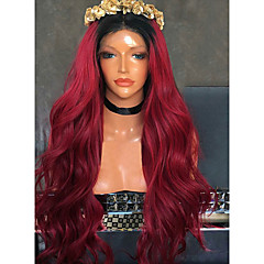 cheap Wigs & Hair Pieces-Synthetic Wig Women's Wavy Burgundy Side Part 150% Density Synthetic Hair with Baby Hair / Heat Resistant / Ombre Hair Burgundy Wig Long Lace Front Black / Burgundy Modernfairy Hair / Yes