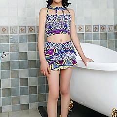 billige Badetøj til piger-Børn Pige Vintage / Kineseri Strand Trykt mønster / Farveblok Åben ryg / Trykt mønster Uden ærmer Badetøj