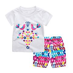 billige Tøjsæt til piger-Børn / Baby Pige Aktiv / Basale Daglig / Sport Flamingos Houndstooth mønster Trykt mønster Kortærmet Normal Normal Bomuld Tøjsæt Lyseblå