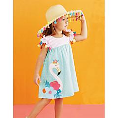 baratos Roupas de Meninas-Bébé Para Meninas Flamingos Listrado / Floral / Estampa Colorida Sem Manga Vestido