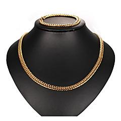 baratos Conjuntos de Bijuteria-Conjunto de jóias - Básico, Europeu, Legal Incluir Pulseiras em Correntes e Ligações / Colares em Corrente Dourado Para Diário