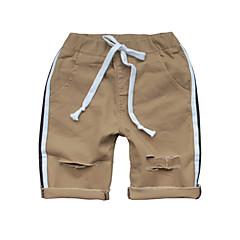 baratos Roupas de Meninos-Infantil Para Meninos Básico Sólido rasgado Algodão Shorts Branco 140