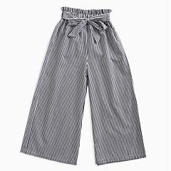 billige Bukser og leggings til piger-Børn Pige Sort og hvid Stribet Bukser