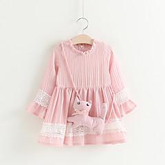 baratos Roupas de Meninas-Infantil / Bébé Para Meninas Sólido Manga 3/4 Vestido