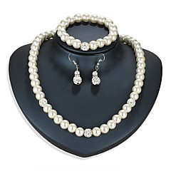 baratos Conjuntos de Bijuteria-Mulheres Conjunto de jóias 1 Colar / 1 Bracelete / Brincos - Asiático / Simples Formato Circular Prata Conjunto de Jóias Para Diário /