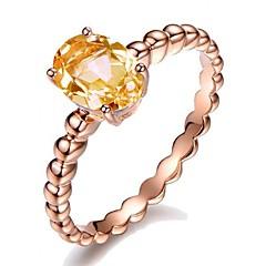 billige Motering-Syntetisk Diamant Forlovelsesring - Kobber, Gullplatert rose Ball Vintage, Ferie, Europeisk 6 / 7 / 8 / 9 / 10 Lysebrun Til Fest Ferie