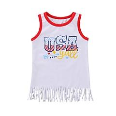 tanie Odzież dla dziewczynek-Brzdąc Dla dziewczynek Aktywny Nadruk Bez rękawów Bawełna Tanktop / koszulka na ramiączkach