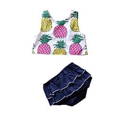 billige Babytøj-Baby Pige Basale Trykt mønster / Frugt Uden ærmer Kort Kort Bomuld Tøjsæt
