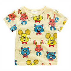 billige Overdele til drenge-Børn / Baby Drenge Kat Trykt mønster Kortærmet T-shirt