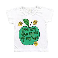 baratos Roupas de Meninas-Infantil Para Meninas Básico Diário Geométrica Estampado Manga Curta Padrão Poliéster Camiseta Verde 100