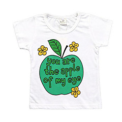 baratos Roupas de Meninas-Infantil Para Meninas Básico Geométrica Estampado Manga Curta Camiseta