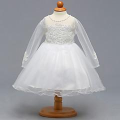 billige Babykjoler-Baby Pige Fest / I-byen-tøj Ensfarvet Langærmet Bomuld / Polyester Kjole Hvid / Sødt