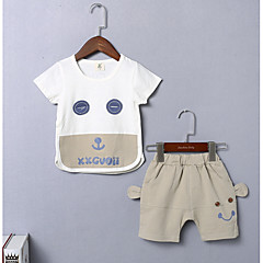 billige Sett med babyklær-Baby Unisex Basale I-byen-tøj Trykt mønster Kortærmet Normal Polyester Tøjsæt Rød 80