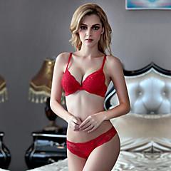 billige BH'er-Kvinner Sexy Sett med truse og BH BH med bøyler / Dytt opp 3/4 Kop - Jacquardvevnad / Broderi