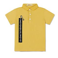 baratos Roupas de Meninos-Infantil Para Meninos Básico Geométrica Estampado Manga Curta Algodão Camiseta