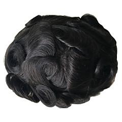 billiga Peruker och hårförlängning-Herr Äkta hår Tupéer Lockigt Hel-spets Häftig