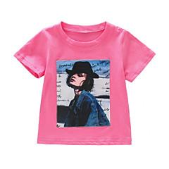 baratos Roupas de Meninas-Infantil / Bébé Para Meninas Activo / Básico Feriado Estampado Patchwork / Estampado Manga Curta Algodão Camiseta