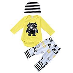billige Tøjsæt til piger-Baby Unisex Basale Ensfarvet / Stribet / Trykt mønster Langærmet Bomuld Tøjsæt