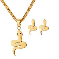 baratos Conjuntos de Bijuteria-Conjunto de jóias - Cobra Fashion Incluir Brincos em Argola / Colares com Pendentes Dourado / Prata Para Diário