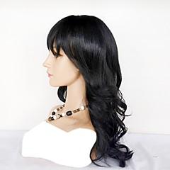 billiga Peruker och hårförlängning-Äkta hår Hel-spets Peruk Peruanskt hår Vågigt Densitet Naturlig Mellanlängd Hårförlängningar av äkta hår