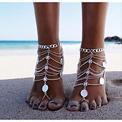 billige Kropssmykker-Mynt Barfotsandaler - Klassisk, Vintage Sølv Til Bikini Dame