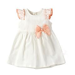 billige Babykjoler-Baby Pige Aktiv Ensfarvet Kortærmet Polyester Kjole Beige 90