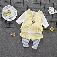 billige Sett med babyklær-Baby Pige Basale Daglig / I-byen-tøj Ensfarvet Langærmet Kort Bomuld Tøjsæt Grøn