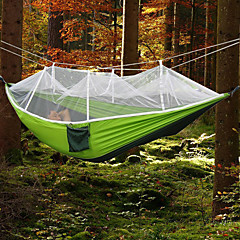 cheap Camping, Hiking & Backpacking-Camping Hammock with Mosquito Net Outdoor Ultra Light, Portable, Moistureproof, Well-ventilated with Carabiners and Tree Straps Spinning Cotton for 2 person Camping / Hiking / Fishing - Army Green