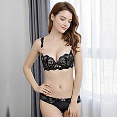 billige BH'er-Kvinner Sexy Sett med truse og BH Dytt opp / BH med bøyler 3/4 Kop - Ensfarget / Jacquardvevnad / Broderi